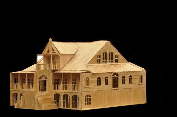2000根雪糕棒制作的名人故居建筑模型